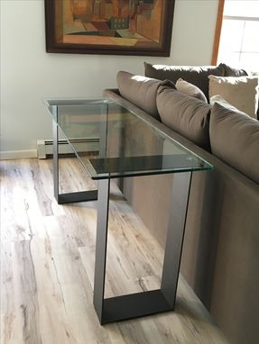 Custom Made Glass And Steel Contemporary Sofa Table / Console Table