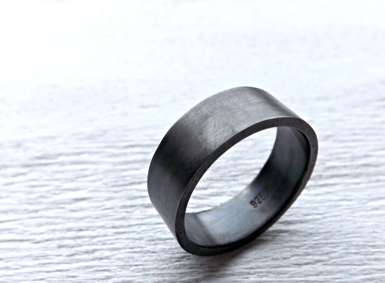 Buy a Custom Mens Wedding Ring Silver Flat Silver Band Black