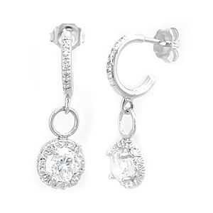Custom Made Halo Diamond Charm Dangling Earrings In 14k White Gold, Ladies Earrings, Dangling Earrings