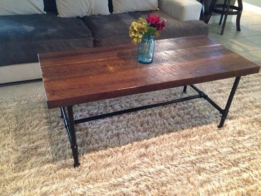 "Custom Made 100+Year Old Reclaimed Pine Coffee Table With 3/4"" Steel Pipe Legs"