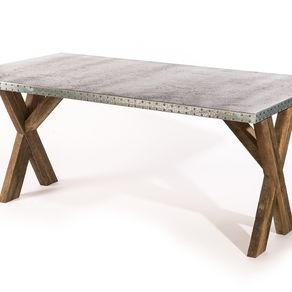 zinc top dining table rustic zinc table dining the reclaimed base trestle top by buy hand made donatella metal table made to
