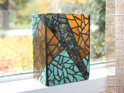 Custom Made Rectangular Green Mosaic Vase