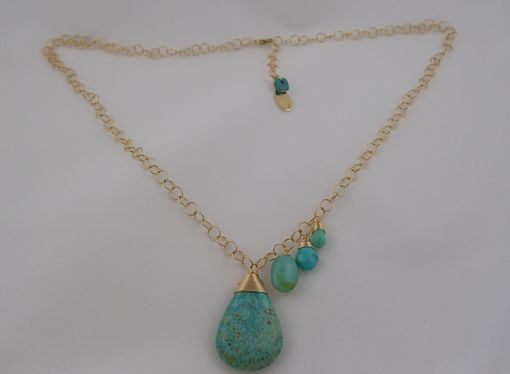 Custom Made Turquise & Sky Opal Asymmetrical Necklace