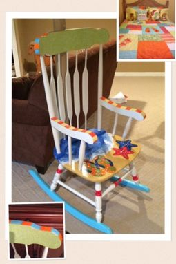 Custom Made Painted Adult Rocking Chair // Whimsical Painted Furniture // Nautical Furniture