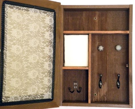 Custom Made Wall Mounted Jewelry And Vanity Cabinet With Lace Front And Early American Stained Finish