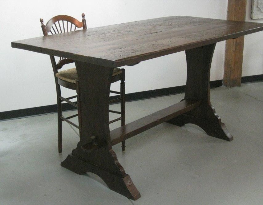 custom made bar height trestle table by ecustomfinishes reclaimed wood furniture. Black Bedroom Furniture Sets. Home Design Ideas