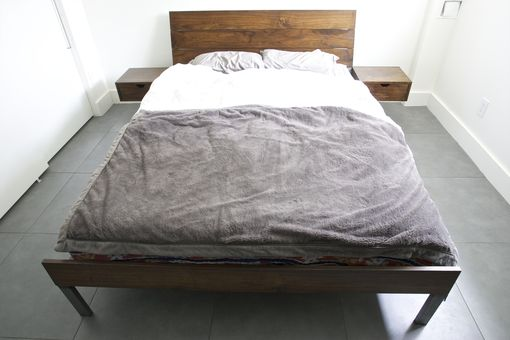 Custom Made Walnut And Steel Bed With Floating Night Stands