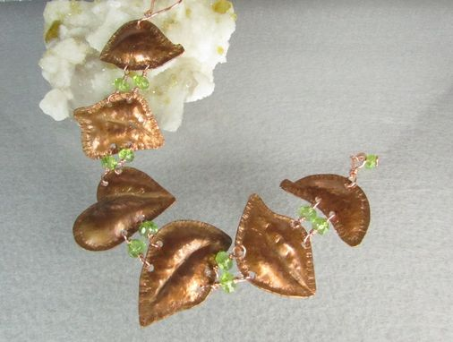 Custom Made Copper Leaves And Peridot Beads Chasing And Repousse Metalwork Bracelet