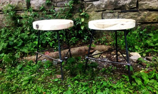 Custom Made Chair Height Reclaimed Wood Industrial Style Bar Stools