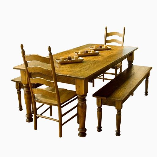 Furniture Dining And Kitchen Tables Farmhouse Industrial: Buy Custom Pine Farmhouse Dining Table, Chairs & Matching