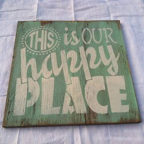 this is our happy place hand painted welcome sign home decor 12 x 12 in wood porch sign