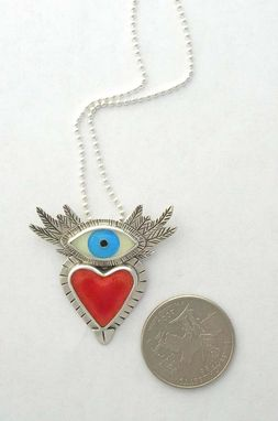 Custom Made Flying Heart Necklace, Sufi Heart Necklace, Cloisonne Enamel Jewelry