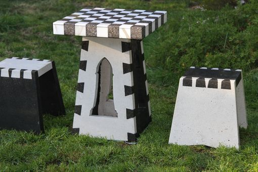 Custom Made Concrete Dovetailed Chess Table And Benches