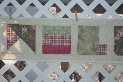 Custom Made Modern Welcome - Green, Pink And Cream Quilted Wall Hanging