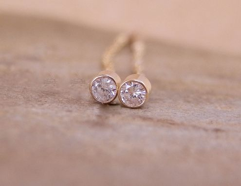 Custom Made Si Diamond Threader Stud Earrings Hand Made In 14 Kt Yellow Gold