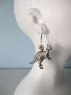 Custom Made Upcycled Earrings Made From Toy Dinosaurs - Silver Corythosaurus
