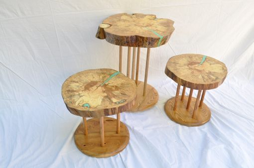 Custom Made Set Of Three Spalted Beech Side Tables  1010
