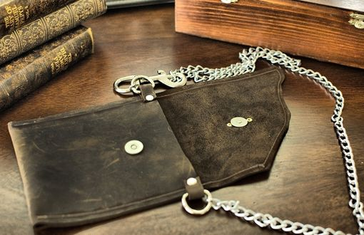 Custom Made Devon Belted Leather Wallet With Chain And Vintage Key Hole