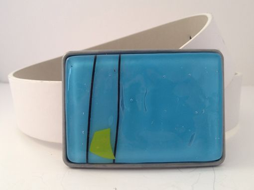 Custom Made Golfers Favorite!!!!! Blue Confetti Fused Glass Belt Buckle