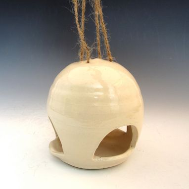 Custom Made Pottery Bird Feeder In White