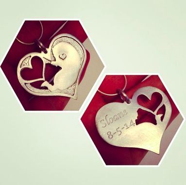 Custom Made Sonogram Baby Heart Pendant