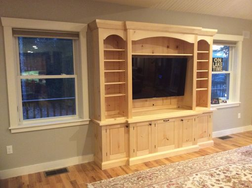 Custom Made Pine Wall Unit Built-In For A Lake House