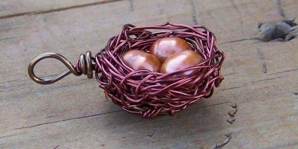 Handmade birds nest pendant by dg designs jewelry and supply custom made birds nest pendant aloadofball Choice Image
