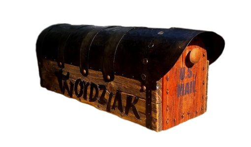 Custom Made Rustic Mailbox With Hand Forged Name
