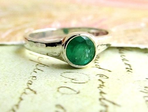Custom Made Emerald Ring In Rustic Style Gold Band