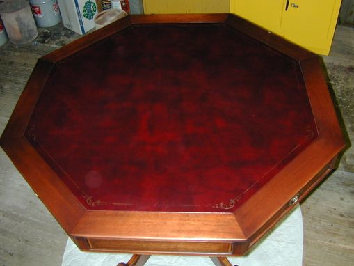 Custom Made Game Table With Leather Inset Top