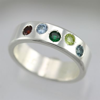Custom Made 5 Stone Mother Ring In Sterling Silver