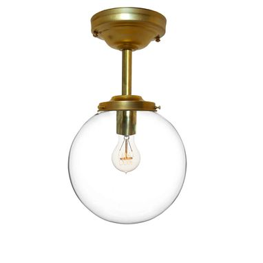 "Custom Made 8"" Clear Blown Glass Globe Downrod Pendant Light- Brass"