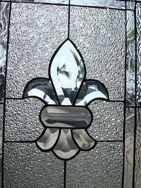 Custom Made Lovely Clear Beveled & Textured Fluer De Lis Stained Glass Window
