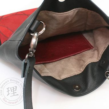Custom Made Leather & Suede Ipad Tablet Crossover Messenger Bag