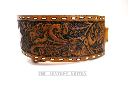 Custom Made Hand Tooled And Painted Custom Western Leather Guitar Strap