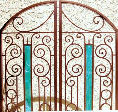Custom Made Iron & Stained Glass Gate, Wine Cellar Door, Courtyard Gate
