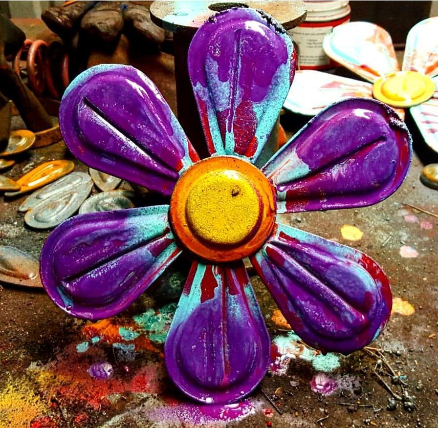 Handmade Whimsical Flower Wall Art Wallhanger Sculptures