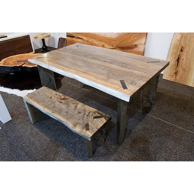 Custom Made Silver Maple Table With Matching Bench