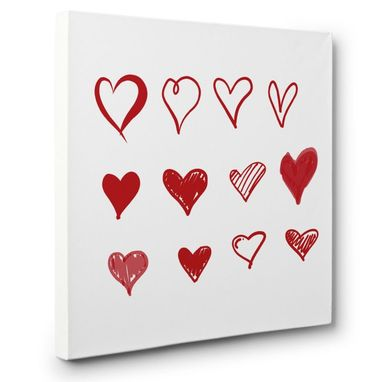 Custom Made Red Scribble Hearts Canvas Wall Art