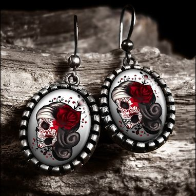 Custom Made Day Of The Dead Sugar Skull Atique Silver Earrings 73-Soe