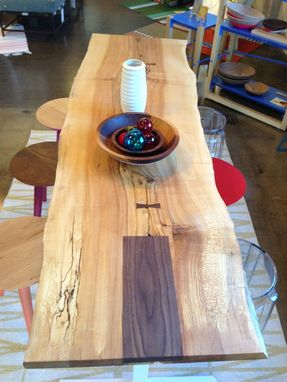 Custom Made Natural Live Edge Dining Table / Spalted Maple Set On Custom Painted Steel Base