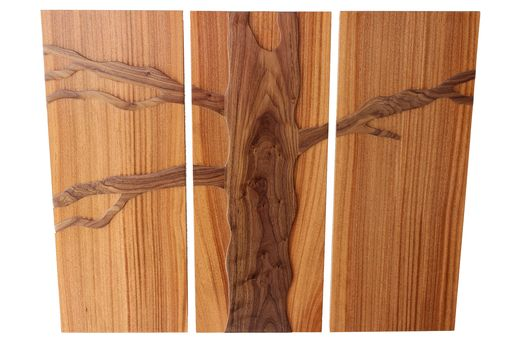 Custom Made 3 Panel Floating Tree (Solid Sepele & Walnut)
