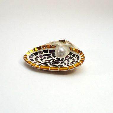Custom Made Imperial Purple Gold Border Mosaic Sea Shell Ring Holder // Beach Wedding Gift