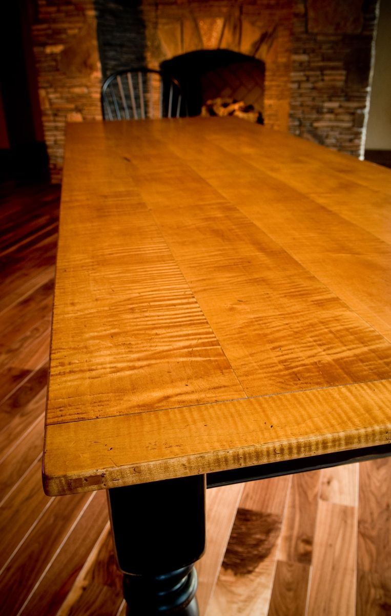 Custom 10 Tiger Maple Dining Table By Carolina Farm Table