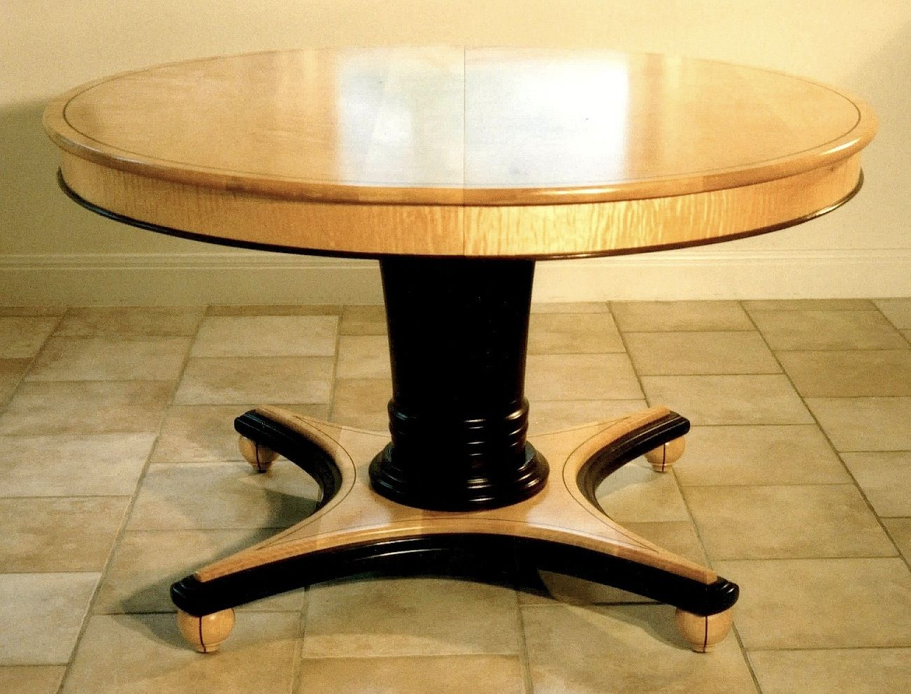 Custom Round Extending Dining Table By Louis Fry Craftsman