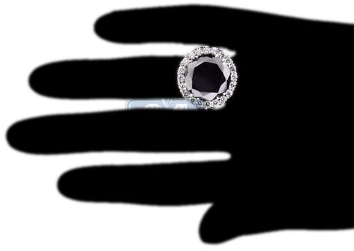 Custom Made 18k White Gold 18.20 Ct Black Diamond Womens Engagement Ring