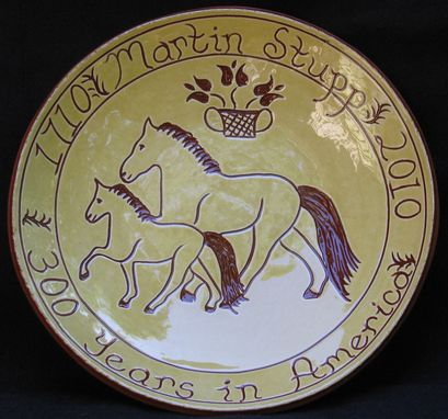 Custom Made Redware Family Anniversary Plate Decorated Using The Sgraffito Technique