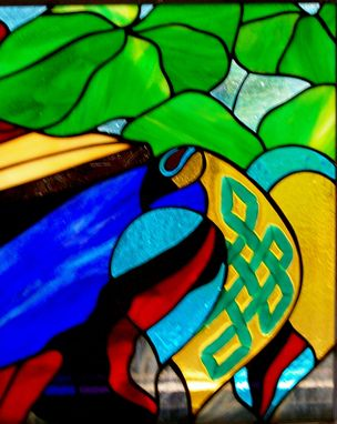 Custom Made Stained Glass Panel With Fused Glass Elements - Katie's Window
