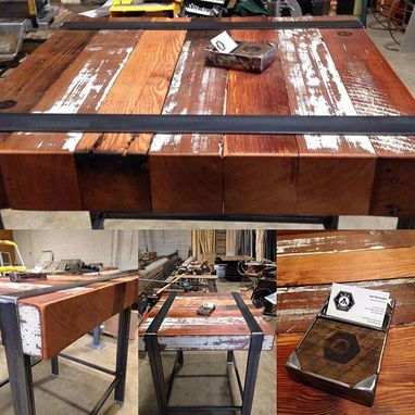 Custom Made Reclaimed Beam Bar Height Table