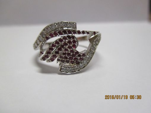 Custom Made Commissioned Pave Set Ruby And Diamond Ring